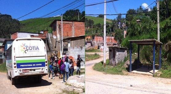 Foto 1- Demonstra os alunos esperando em lugar sem nenhuma proteção. Foto 2- Ponto construído porem devido a burocracia não pode ser utilizado.