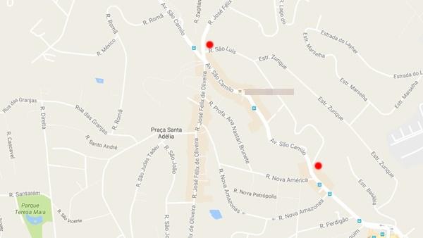 Entre os pontos vermelhos, a Rua São Luís, que pode ser usada como opção de desvio do trânsito