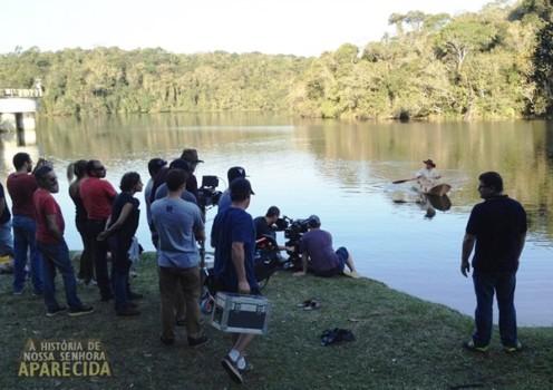 Set de gravação na represa