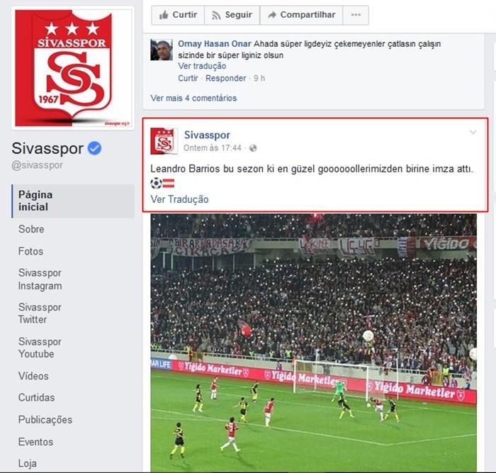 Facebook do Sivasspor destacando o gol de Leandro.